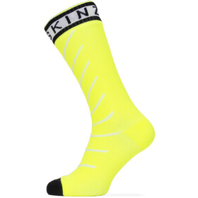 Sealskinz Waterproof Warm Weather Mid Length Socks with Hydrostop neon yellow/black/white